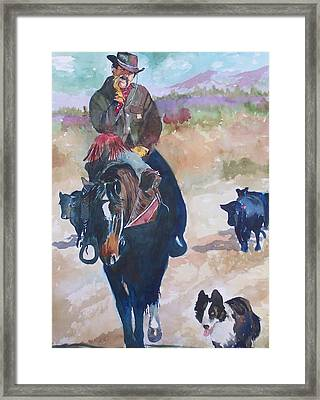 Framed Print featuring the painting Two Bad Cowdogs by P Maure Bausch