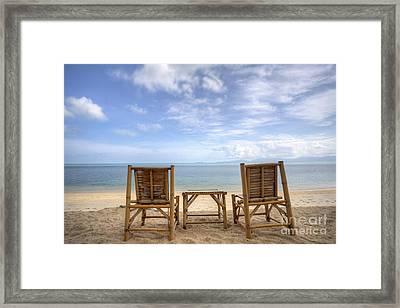 Two Bamboo Beach Chair Framed Print by Anek Suwannaphoom