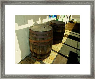 Framed Print featuring the photograph Two Barrels by Lenore Senior