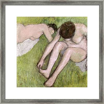 Two Bathers On The Grass Framed Print