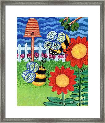 Two Bees With Red Flowers Framed Print by Genevieve Esson