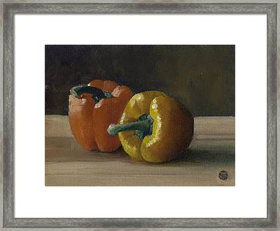 Framed Print featuring the painting Two Bell Peppers by John Reynolds