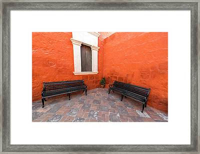 Two Benches In A Monastery Framed Print by Jess Kraft