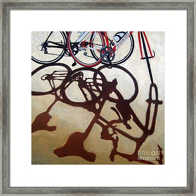 Two Bicycles Framed Print by Linda Apple