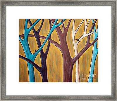 Two Birds And Five Trees Framed Print by Karla Gerard