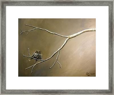 Two Birds On A Branch Framed Print