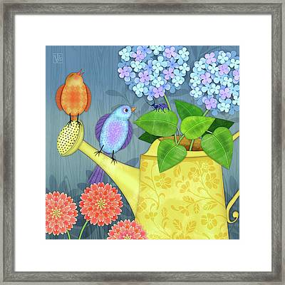 Two Birds On A Watering Can Framed Print