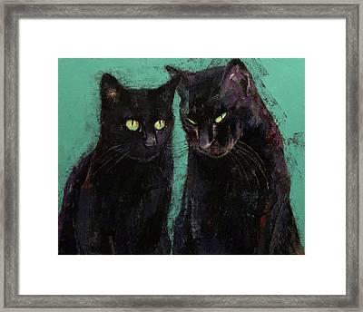 Two Black Cats Framed Print