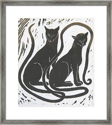 Two Black Felines Framed Print