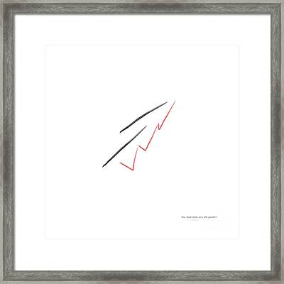 Two Black Marks And A Red Scribble Minimalist Art Framed Print by Eloise Schneider