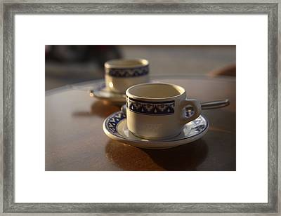 Two Blue And White Coffee Cups Framed Print
