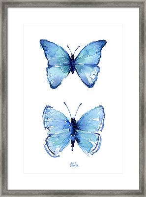 Two Blue Butterflies Watercolor Framed Print