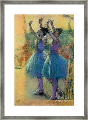Two Blue Dancers Framed Print by Edgar Degas