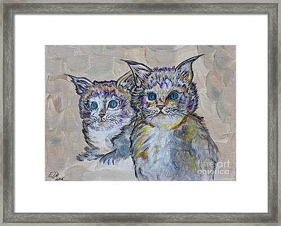 Two Blue Eyed Kittens - Colorful Art By Ella Framed Print by Ella Kaye Dickey