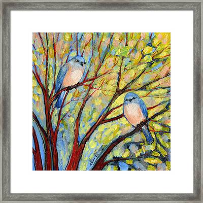 Two Bluebirds Framed Print by Jennifer Lommers