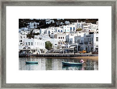 Two Boats In Mykonos Framed Print
