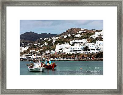 Two Boats In The Mykonos Harbor Framed Print