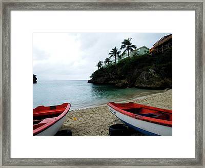 Two Boats, Island Of Curacao Framed Print