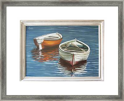 Framed Print featuring the painting Two Boats by Natalia Tejera