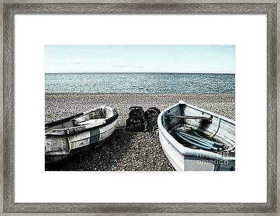 Two Boats On Seaford Beach Framed Print