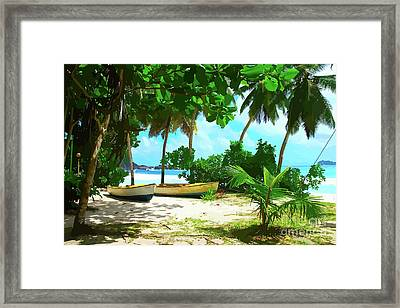 Two Boats On Tropical Beach Framed Print
