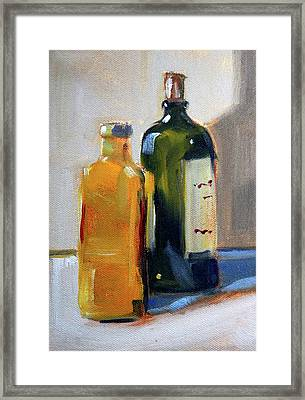 Framed Print featuring the painting Two Bottles by Nancy Merkle