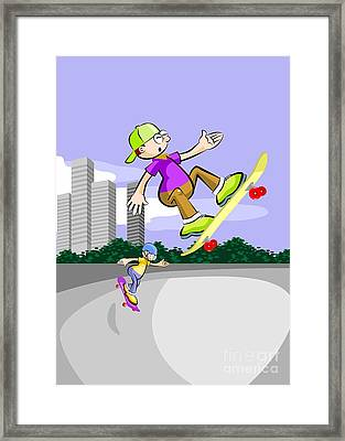Two Boys Fly And Have Fun With Their Skateboards On The Skating Rink Framed Print