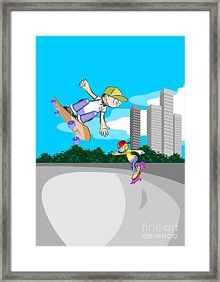 Two Boys Having Fun In The Skate Park With Their Skateboards Framed Print