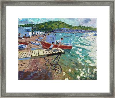 Two Boys On The Landing Stage, Teignmouth Framed Print by Andrew Macara