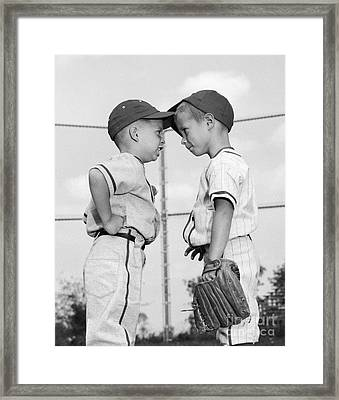 Two Boys Playing Baseball Arguing Framed Print