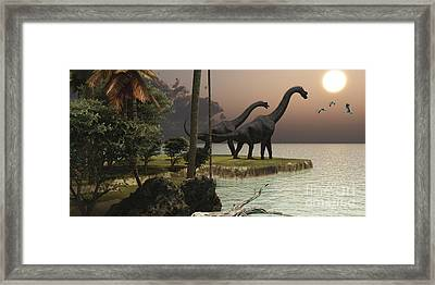 Two Brachiosaurus Dinosaurs Enjoy Framed Print