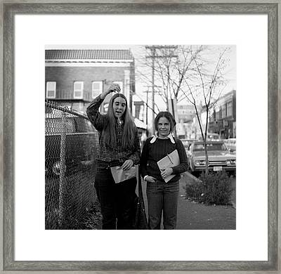 Two Brown Students, Thayer Street, Providence, 1972 Framed Print