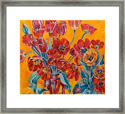 Two Bunches Of Red Tulips Framed Print by Vitali Komarov