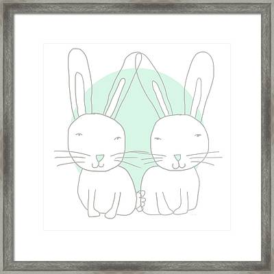 Two Bunnies- Art By Linda Woods Framed Print