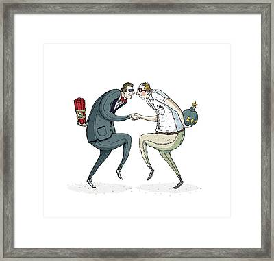 Two Businessmen Shaking Hands With Bombs Hiding In Hands Framed Print