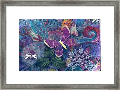 Two Butterflies And A Snow Flake Framed Print by Anne-Elizabeth Whiteway