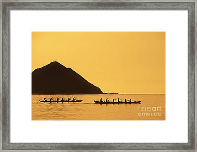Two Canoes Silhouetted Framed Print by Dana Edmunds - Printscapes