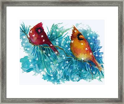 Two Cardinals Framed Print by Peggy Wilson