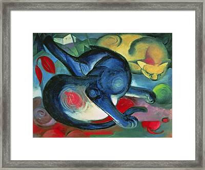 Two Cats Framed Print by Franz Marc
