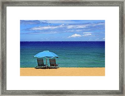 Framed Print featuring the photograph Two Chairs And An Umbrella by James Eddy