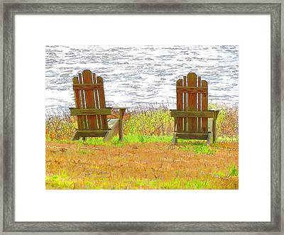Two Chairs Facing The Lake Framed Print by Lanjee Chee
