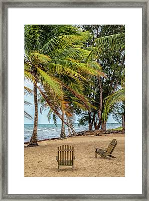 Framed Print featuring the photograph Two Chairs In Belize by Cheryl Strahl