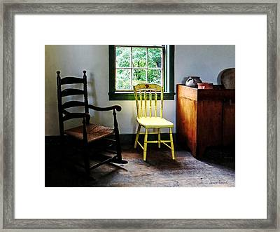 Two Chairs In Kitchen Framed Print by Susan Savad