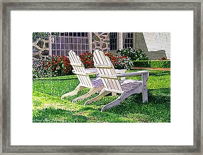 Two Chairs On Carmelina Framed Print by David Lloyd Glover