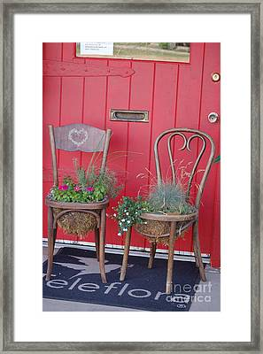 Two Chairs With Plants Framed Print