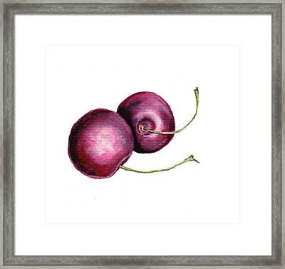 Framed Print featuring the painting Two Cherries by Heidi Kriel