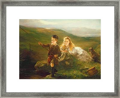 Two Children Fishing In Scotland   Framed Print by Otto Leyde