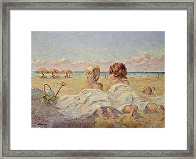 Two Children On The Beach Framed Print