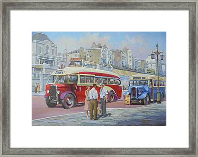 Two Coaches On Brighton Seafront. Framed Print