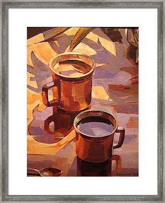 Framed Print featuring the painting Two Coffees by Tim  Heimdal